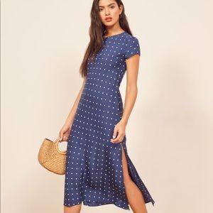 Reformation blue polka dot Jennifer dress